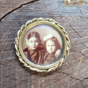 Small Round Victorian Pin with Photo Boy Girl